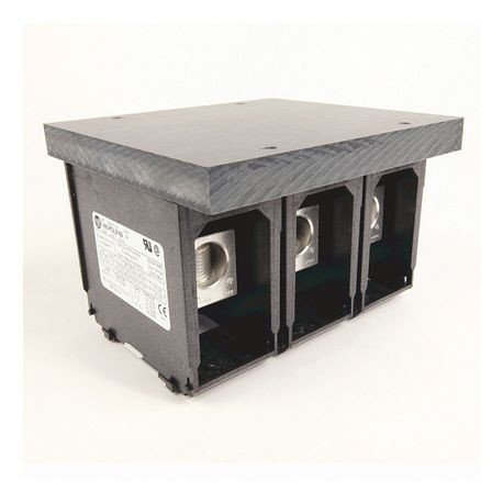 1492 Power Block, Feeder Spacing Power Distribution Block, 3-Pole, 1 Opening Line Side, 6 Openings Load Side, 335 Amps