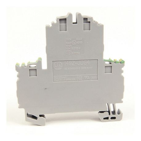 1492-J IEC Terminal Block, Two-Circuit Feed-Through Ground Block, 4 mm (# 22 AWG - # 10 AWG) or 2.5 mm (# 22 AWG - # 12 AWG), Standard Feedthrough, Gray (Standard),