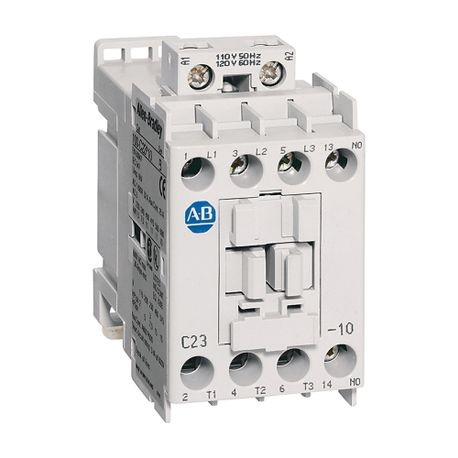 100-C IEC Contactor, 24V DC Electronic Coil, Screw Terminals, Line Side, 23A, 3 N.O. 1 N.C. Main Contact Configuration, Single Pack