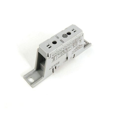 1492 Power Block, PDM Mini-Style Block, 3-Pole, Aluminum, 1 Opening Line Side, 1 Opening Load Side, 115 Amps