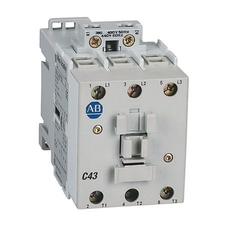 100-C IEC Contactor, 240V 60Hz, Screw Terminals, Line Side, 43A, 1 N.O. 0 N.C. Auxiliary Contact Configuration, Single Pack