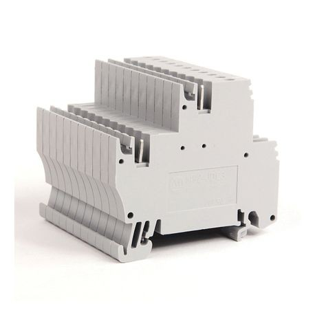 1492-J IEC Terminal Block, Two-Circuit Feed-Through Block, 2.5 mm (# 24 AWG - # 12 AWG), Plug-In comb connections on one side of each circuit, Gray (Standard),