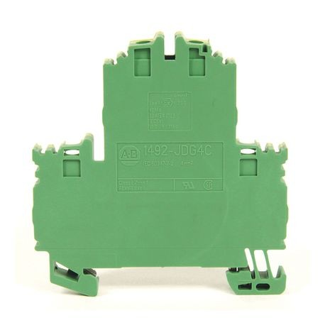 1492-J IEC Terminal Block, Two-Circuit Feed-Through Ground Block, 4 mm (# 22 AWG - # 10 AWG) or 2.5 mm (# 22 AWG - # 12 AWG), 4 Connection points, Green / Yellow Stripe (Standard),