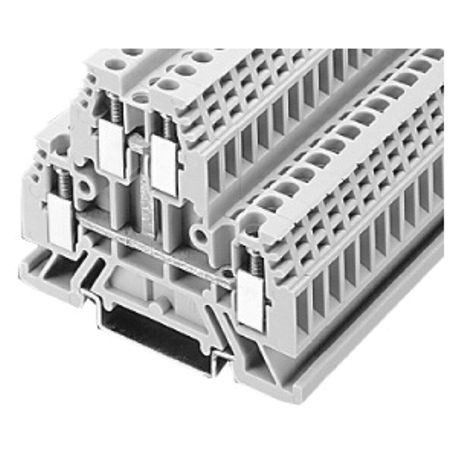 1492-W IEC Terminal Block, Two-Circuit Feed-Through Block, 4 mm (# 22 AWG - # 10 AWG) or 2.5 mm (# 22 AWG - # 12 AWG), 4 Connection points, Gray (Standard),