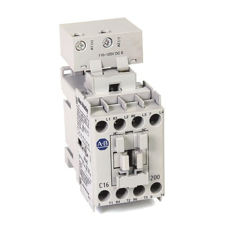 100-C IEC Contactor, 24V DC Electronic Coil, Screw Terminals, Line Side, 16A, 3 N.O. 1 N.C. Main Contact Configuration, Single Pack