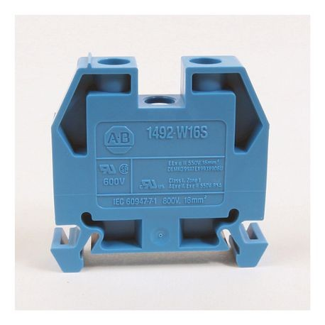 1492-W IEC Terminal Block, Space-Saver Feed-Through Blocks, 16 mm (# 14 AWG - # 4 AWG), Single-circuit terminal block, Gray (Standard),