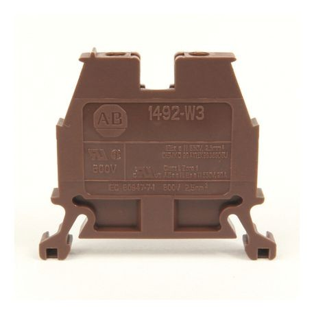 1492-W IEC Terminal Block, Space-Saver Feed-Through Blocks, 2.5 mm (# 24 AWG - # 12 AWG), Single-circuit terminal block, Brown,