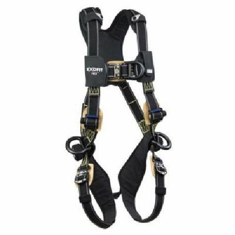 3M DBI-SALA Fall Protection ExoFit™ NEX™ 1113331 Climbing/Positioning Harness, M, 420 lb Load, Kevlar®/Nomex® Strap, Duo-Lok™ Quick-Connect Leg Strap Buckle, Back/Side/Front D-Ring Shoulder Strap Buckle, Aluminum/Stainless Steel Hardware, Black