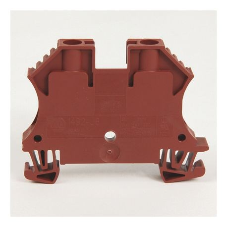 1492-J IEC Terminal Block, One-Circuit Feed-Through Block, 6 mm (# 22 AWG - # 10 AWG), Standard Feedthrough, Brown,