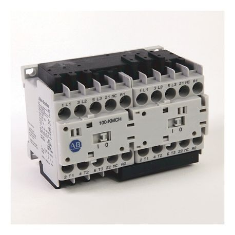 104-K Mini Reversing Contactors, Screw Type Terminals, 9 A, System Control Voltage: 24V 50/60Hz, 3 N.O. Main Contacts, 1 N.C. Auxiliary Contact