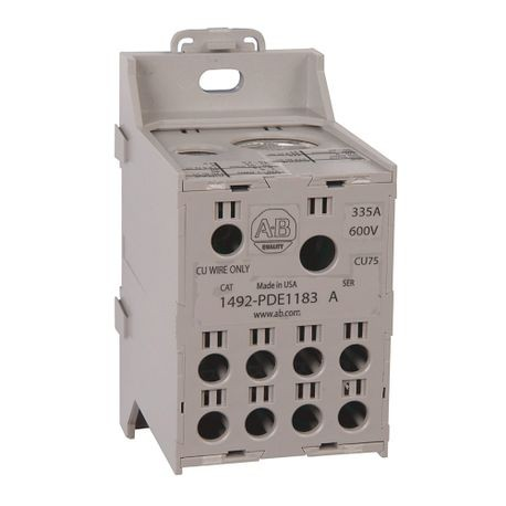 1492 Enclosed Power Distribution Block, 1-Pole, Aluminum, 2 Openings Line Side, 8 Openings Load Side, 335 Amps