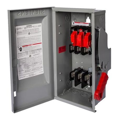 Siemens HFC261R Enclosed Fusible Heavy Duty Safety Switch, 600 VAC, 30 A, 3 hp, 10 hp, DPST Contact Form, 2 Pole
