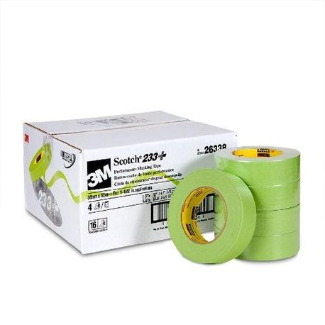 3M™ 511312-63383 High Performance Masking Tape, 55 m L x 36 mm W x 6.6 mil THK, Rubber Adhesive, Crepe Paper Backing