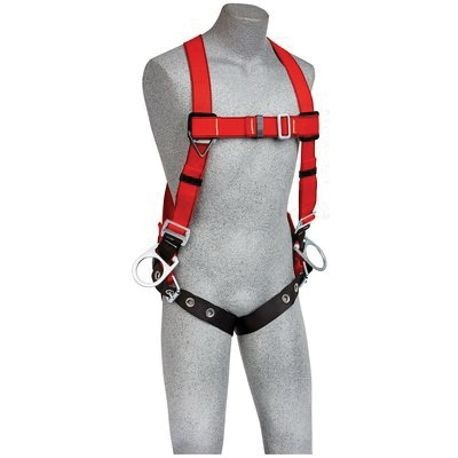3M Protecta Fall Protection PRO™ 1191386 Positioning Harness, XL, 420 lb Load, Kevlar® Fiber Strap, Tongue Leg Strap Buckle, Parachute/Pass-Thru/Tongue Chest Strap Buckle, Stainless Steel Hardware, Black/Red