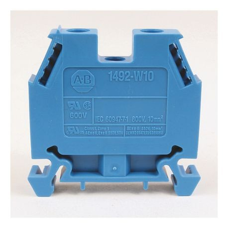 1492-W IEC Terminal Block, Space-Saver Feed-Through Blocks, 10 mm (# 22 AWG - # 8 AWG), Single-circuit terminal block, Blue,