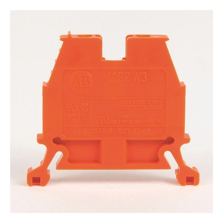 1492-W IEC Terminal Block, Space-Saver Feed-Through Blocks, 2.5 mm (# 24 AWG - # 12 AWG), Single-circuit terminal block, Orange,