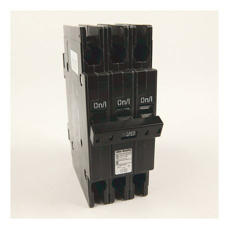 "1492-MC Circuit Breaker, 1492 Miniature Circuit Breaker, Circuit Breaker - ½"" wide per pole, DIN rail mounting, 10 kA, 3 Poles, 20 Amps, Standard Terminal, None"