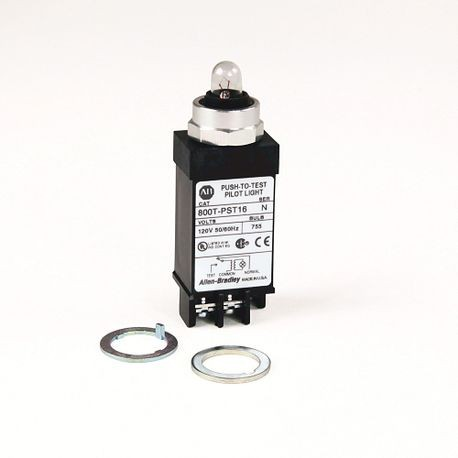 800T Small Pilot Light,Transformer,Push-to-Test,120V AC 50/60 Hz