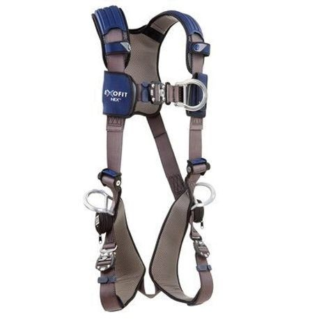 3M DBI-SALA Fall Protection ExoFit™ NEX™ 1113076 Climbing Positioning Harness, S, 420 lb Load, Nylon Strap, Duo-Lok™ Quick-Connect Leg Strap Buckle, Duo-Lok™ Quick-Connect Chest Strap Buckle, Zinc Plated Steel Hardware, Gray