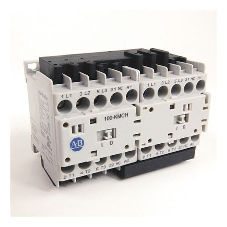 104-K Mini Reversing Contactors, Screw Type Terminals, 12 A, System Control Voltage: 110V 50Hz/120V 60Hz, 3 N.O. Main Contacts, 1 N.C. Auxiliary Contact