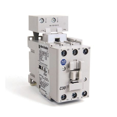 100-C IEC Contactor, 48-72V DC Electronic Coil, Screw Terminals, Line Side, 30A, 1 N.O. 0 N.C. Auxiliary Contact Configuration, Single Pack