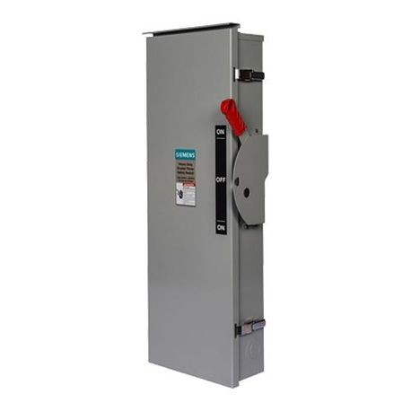 Siemens DTF363 Enclosed Heavy Duty Low Voltage Safety Switch, 600 VAC, 100 A, 75 hp, 20 hp, TPDT Contact Form, 3 Pole