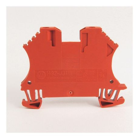 1492-J IEC Terminal Block, One-Circuit Feed-Through Block, 2.5 mm (# 24 AWG - # 12 AWG), 3 Connection points, 2 on one side, Red,