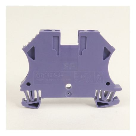 1492-J IEC Terminal Block, One-Circuit Feed-Through Block, 4 mm (# 22 AWG - # 10 AWG) or 2.5 mm (# 22 AWG - # 12 AWG), Standard Feedthrough, Violet,