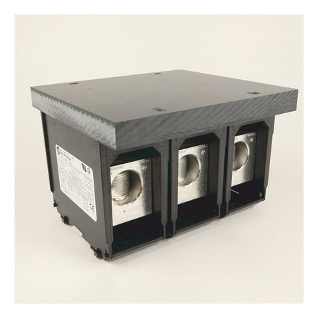 1492 Power Block, Feeder Spacing Power Distribution Block, 3-Pole, 1 Opening Line Side, 3 Openings Load Side, 335 Amps