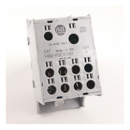 1492 Enclosed Power Distribution Block, 1-Pole, Copper, 2 Openings Line Side, 8 Openings Load Side, 335 Amps