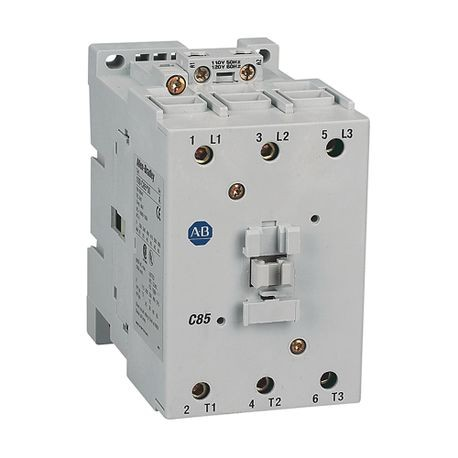Rockwell Automation 100-C85D01 IEC Contactor, 110/120 VAC Coil, 85 A Maximum Load Current, 0NO-1NC Contact Configuration, 3 Pole