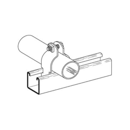 B-Line B2002ZN B2000 2-Piece Pipe Clamp, 3/4 in, For Use With PVC Coated  Thinwall EMT Conduit and Clamps, 16 ga Steel, Zinc Plated