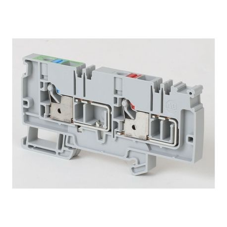 Allen-Bradley 1492-P6PD2S-1RE1G Control Power Distribution Terminal Block With Grounding, 250 VAC/VDC, 41 A, 6 sq-mm Wire, Push-In Mounting