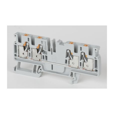 Allen-Bradley 1492-P4Q 1-Circuit Feed-Through Terminal Block, 600 VAC/VDC, 30 A, 26 to 10 AWG Wire, DIN Rail Mount
