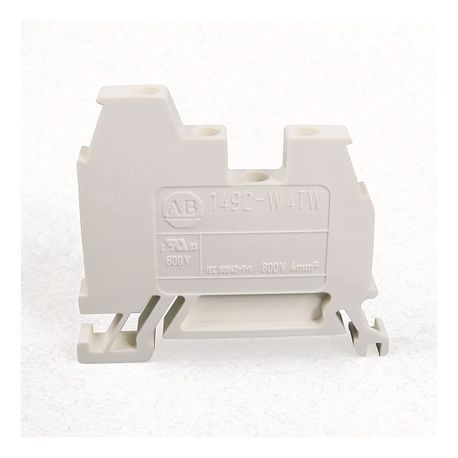 1492-W IEC Terminal Block, One-Circuit Feed-Through Block, 4 mm (# 22 AWG - # 10 AWG) or 2.5 mm (# 22 AWG - # 12 AWG), 3 Connection points, 2 on one side, White,