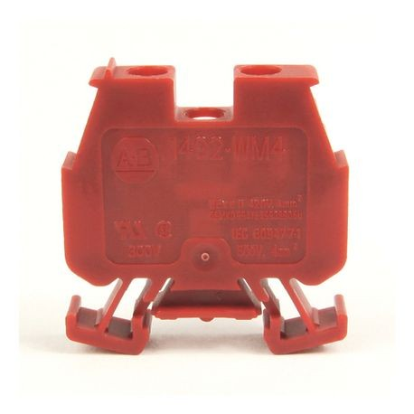 1492-W IEC Terminal Block, One-Circuit Mini Feed-Through Block, 4 mm (# 22 AWG - # 10 AWG) or 2.5 mm (# 22 AWG - # 12 AWG), Standard Feedthrough, Red,