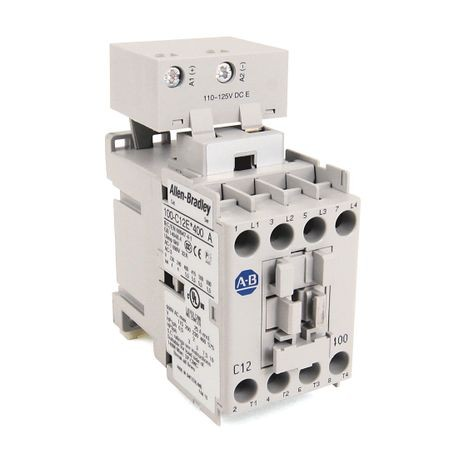 Rockwell Automation 100-C12ED400 IEC Contactor, 110 to 130 VAC/VDC Coil, 12 A Maximum Load Current, 4NO-0NC Contact Configuration, 4 Pole