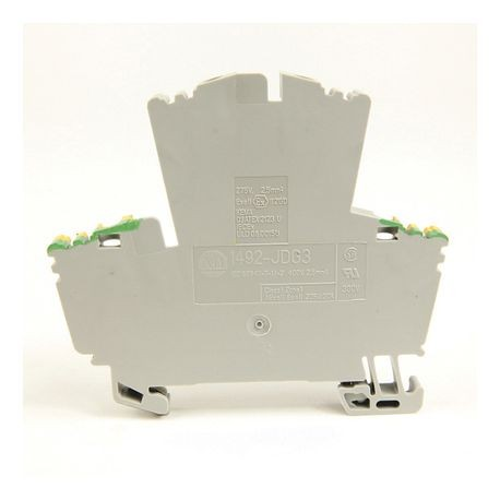 1492-J IEC Terminal Block, Two-Circuit Feed-Through Ground Block, 2.5 mm (# 24 AWG - # 12 AWG), 4 Connection points, Green / Yellow Stripe (Standard),