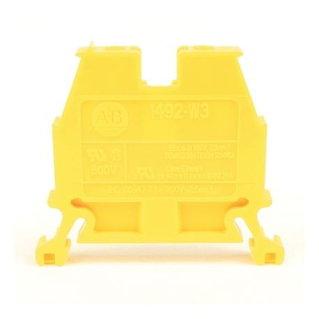 1492-W IEC Terminal Block, Space-Saver Feed-Through Blocks, 2.5 mm (# 24 AWG - # 12 AWG), Single-circuit terminal block, Yellow,