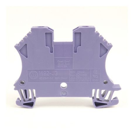 1492-J IEC Terminal Block, One-Circuit Feed-Through Block, 2.5 mm (# 24 AWG - # 12 AWG), Standard Feedthrough, Violet,