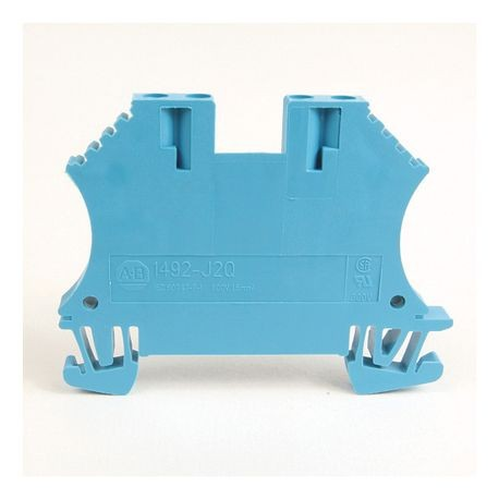1492-J IEC Terminal Block, One-Circuit Feed-Through Block, 1.5 mm (# 22 AWG - # 16 AWG), 2 Connection points on each side, Blue,