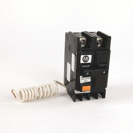 1492-MC Circuit Breaker, 1492 Miniature Circuit Breaker, Ground Fault Equipment Protector (GFEP), Panel mounting, 10 kA, 2 Poles, 15 Amps, Standard Terminal, None