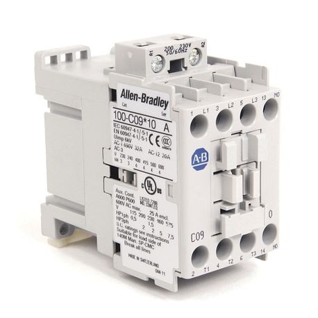 Rockwell Automation 100-C09KL10 IEC Contactor, 200 to 230 VAC Coil, 9 A Maximum Load Current, 1NO-0NC Contact Configuration