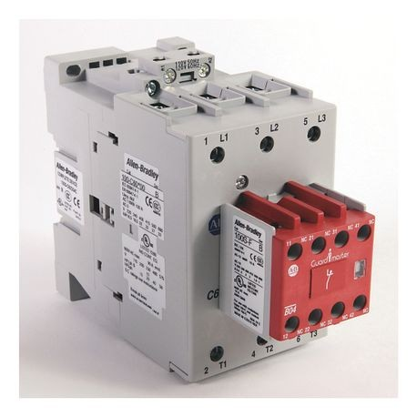 Rockwell Automation 100S-C60DJ22C Safety Contactor, 24 VDC Coil, 60 A Maximum Load Current, 2NO-2NC Contact Configuration, 3 Pole