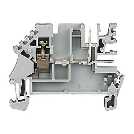 1492-J IEC Terminal Block, One-Circuit Feed-Through Block, 2.5 mm (# 24 AWG - # 12 AWG), Plug-In comb connections on one side of each circuit, Gray (Standard),