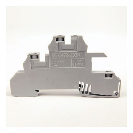 1492-J IEC Terminal Block, Two-Circuit Feed-Through Block, 2.5 mm (# 24 AWG - # 12 AWG), Two level block with a MOV between the 2 levels, Gray (Standard),
