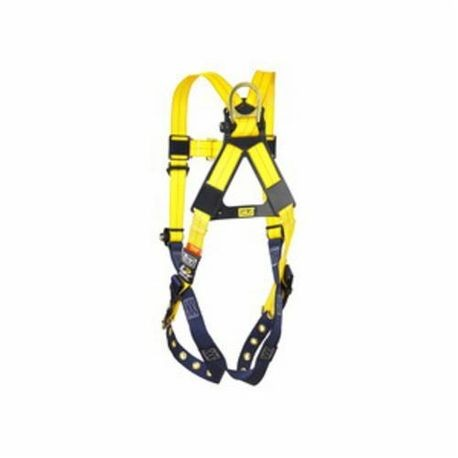 3M DBI-SALA Fall Protection Delta™ 1102000 Multi-Purpose Full Body Harness, Unisex, 420 lb Load, Polyester Strap, Tongue Leg Strap Buckle, Stainless Steel Grommet Leg Buckle/Zinc Plated Steel Chest Buckle Hardware, Blue/Yellow