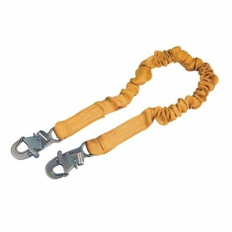 3M DBI-SALA Fall Protection 1244306 ShockWave™ 2 Elastic Shock Absorbing Lanyard, 130 to 310 lb Load, 6 ft L, Polyester Line, 1 Leg, Snap Hook Anchorage Connection, Snap Hook Harness Connection Hook