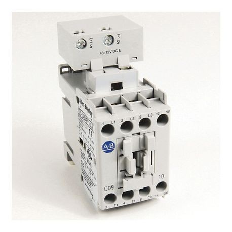 100-C IEC Contactor, 24V DC Electronic Coil, Screw Terminals, Line Side, 9A, 3 N.O. 1 N.C. Main Contact Configuration, Single Pack
