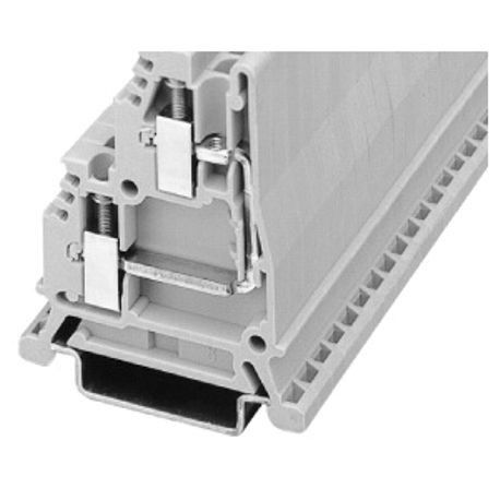 1492-W IEC Terminal Block, One-Circuit Feed-Through Block, 2.5 mm (# 24 AWG - # 12 AWG), Terminal connections on common side, Gray (Standard),